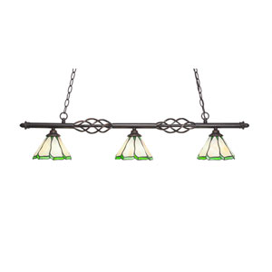 Eleganté Dark Granite Three-Light Island Pendant with 7-Inch Honey and Hunter Green Flair Tiffany Glass Shade