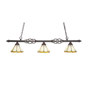 Eleganté Dark Granite Three-Light Island Pendant with 7-Inch Honey and Brown Flair Tiffany Glass Shade