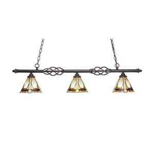 Eleganté Dark Granite Three-Light Island Pendant with 7-Inch Zion Tiffany Glass Shade