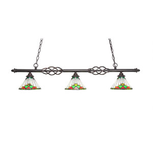 Eleganté Dark Granite Three-Light Island Pendant with 7-Inch Green Sunray Tiffany Glass Shade