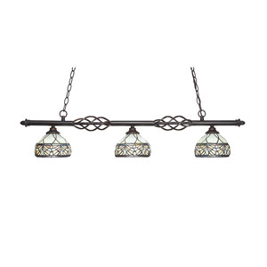 Eleganté Dark Granite Three-Light Island Pendant with 7-Inch Royal Merlot Tiffany Glass Shade