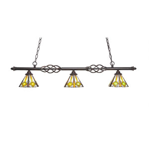 Eleganté Dark Granite Three-Light Island Pendant with 7-Inch Hampton Tiffany Glass Shade