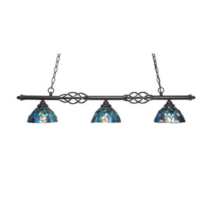 Eleganté Dark Granite Three-Light Island Pendant with 7-Inch Blue Mosaic Tiffany Glass Shade