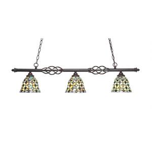 Eleganté Dark Granite Three-Light Island Pendant with 7-Inch Crescent Tiffany Glass Shade