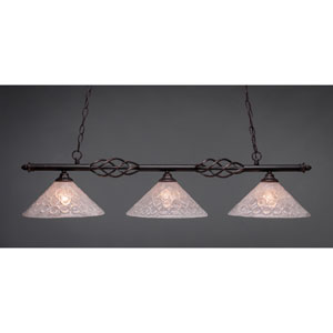 Elegante Dark Granite 12-Inch Three Light Island Bar with Italian Bubble Glass