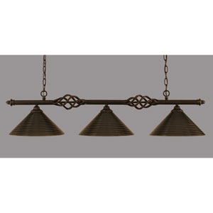 Elegante Dark Granite 12-Inch Three Light Island Bar with Charcoal Spiral Glass