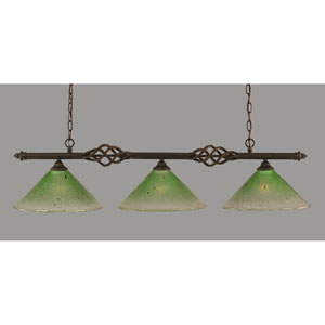 Elegante Dark Granite 12-Inch Three Light Island Bar with Kiwi Green Crystal Glass