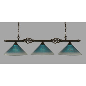 Elegante Dark Granite 12-Inch Three Light Island Bar with Teal Crystal Glass