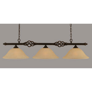 Elegante Dark Granite 12-Inch Three Light Island Bar with Amber Marble Glass