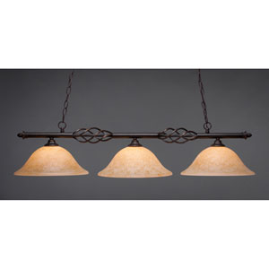 Elegante Dark Granite 12-Inch Three Light Island Bar with Italian Marble Glass