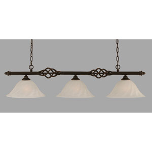 Elegante Dark Granite 12-Inch Three Light Island Bar with White Alabaster Swirl Glass