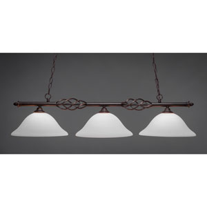 Elegante Dark Granite 12-Inch Three Light Island Bar with White Linen Glass