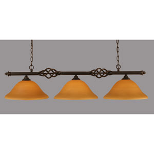 Elegante Dark Granite 12-Inch Three Light Island Bar with Cayenne Linen Glass