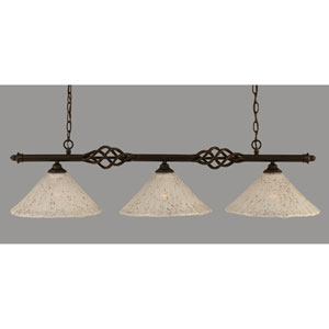 Elegante Dark Granite 12-Inch Three Light Island Bar with Gold Ice Glass