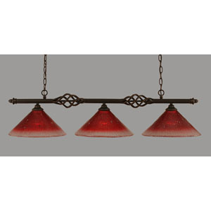 Elegante Dark Granite 12-Inch Three Light Island Bar with Raspberry Crystal Glass