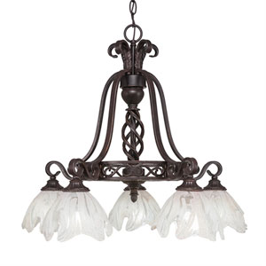 Eleganté Dark Granite Five-Light 23.5-Inch Downward Chandelier with 7-Inch Italian Ice Glass