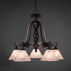 Elegante Dark Granite Five-Light Chandelier with Italian Ice Glass