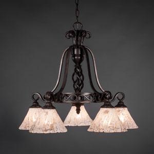 Elegante Dark Granite Five-Light Chandelier with Italian Ice Glass