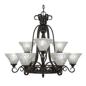 Eleganté Dark Granite Nine-Light Chandelier with Italian Bubble Glass