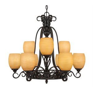 Eleganté Dark Granite Nine-Light Chandelier with Cayenne Linen Glass