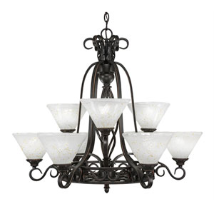 Eleganté Dark Granite Nine-Light Chandelier with Gold Ice Glass