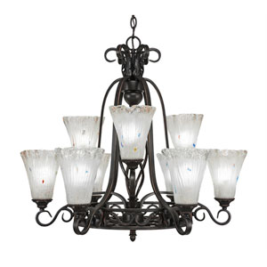 Eleganté Dark Granite Nine-Light Chandelier with Frosted Crystal Glass