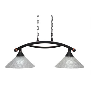 Bow Black Copper Two-Light Island Light with Italian Bubble Glass