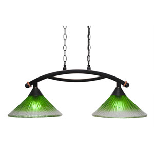 Bow Black Copper Two-Light Island Light with Kiwi Green Crystal Glass