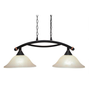 Bow Black Copper Two-Light Island Light with Amber Marble Glass