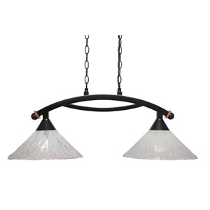 Bow Black Copper Two-Light Island Light with Italian Ice Glass