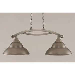 Bow Brushed Nickel 13-Inch Two Light Island Bar with Metal Shade