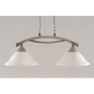 Bow Brushed Nickel 12-Inch Two Light Island Bar with Gray Linen Glass