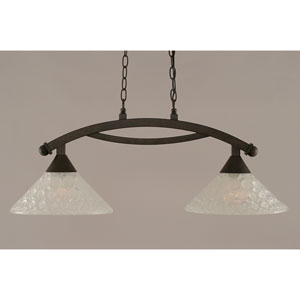 Bow Bronze 12-Inch Two Light Island Bar with Italian Bubble Glass