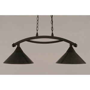 Bow Bronze 12-Inch Two Light Island Bar with Charcoal Spiral Glass