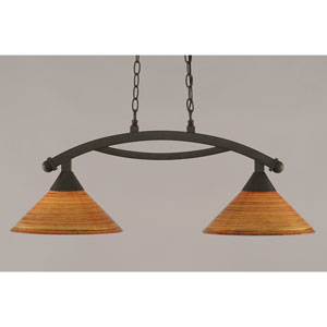 Bow Bronze 12-Inch Two Light Island Bar with Fire Saturn Glass