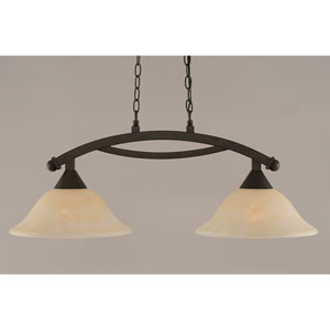 Bow Bronze 12-Inch Two Light Island Bar with Amber Marble Glass