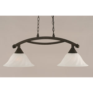 Bow Bronze 12-Inch Two Light Island Bar with White Alabaster Swirl Glass
