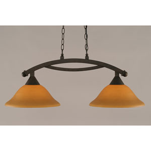 Bow Bronze 12-Inch Two Light Island Bar with Cayenne Linen Glass