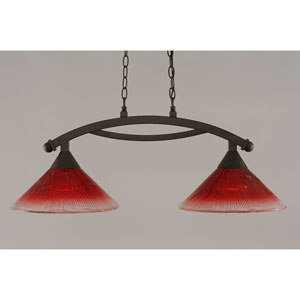 Bow Bronze 12-Inch Two Light Island Bar with Raspberry Crystal Glass