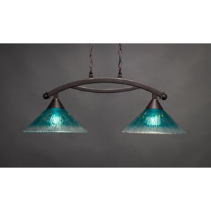 Bow Dark Granite 12-Inch Two Light Island Bar with Teal Crystal Glass
