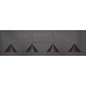 Bow Bronze Four-Light Island Pendant with Bronze Shade