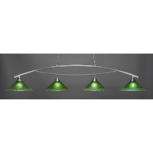 Bow Brushed Nickel Four-Light Island Pendant with 16-Inch Kiwi Green Crystal Glass Shades
