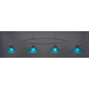 Bow Dark Granite Billiard Light with Teal Crystal Glass