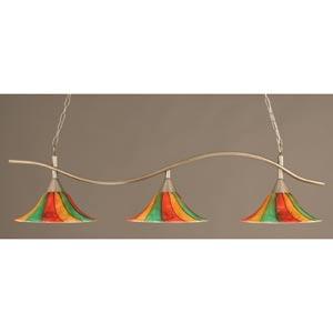 Swoop Brushed Nickel Three-Light Island Pendant with 16-Inch Mardi Gras Glass Shades