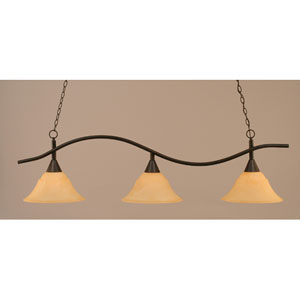 Swoop Dark Granite Billiard Light with French Amber Glass