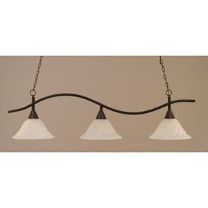Swoop Dark Granite Billiard Light with Alabaster Swirl Glass