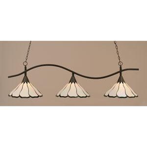 Swoop Dark Granite Billiard Light w/ Pearl and Black Flair Tiffany Glass