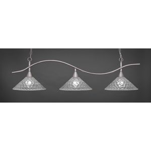 Swoop Brushed Nickel Three-Light Island Pendant with 16-Inch Italian Bubble Glass Shades