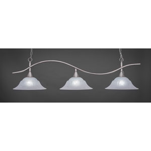 Swoop Brushed Nickel Three-Light Island Pendant with 16-Inch White Marble Glass Shades