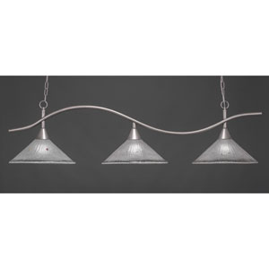 Swoop Brushed Nickel Three-Light Island Pendant with 16-Inch Frosted Crystal Glass Shades